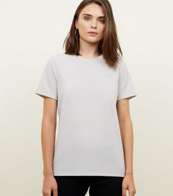 Silver Metallic Ribbed Boxy T-Shirt