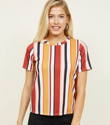 Rust Stripe Ribbed Boxy T-Shirt