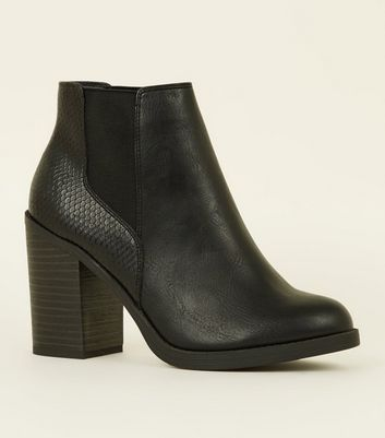 Black Faux Snakeskin Back Block Heel Boots