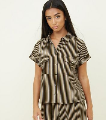 Petite Black Stripe Twill Utility Shirt