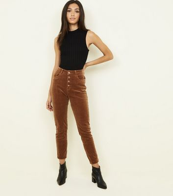 Camel Corduroy High Rise Super Skinny Dahlia Jeans by New Look