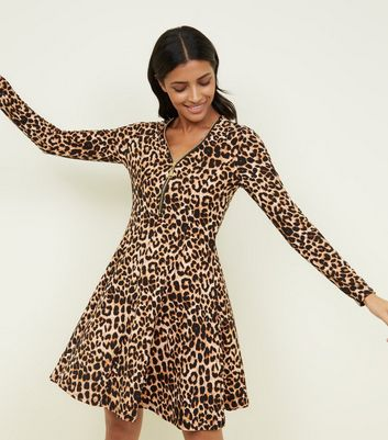 Brown Leopard Print Zip Neck Soft Touch Dress