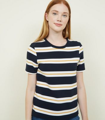 Navy Stripe Popper Shoulder Ribbed T-Shirt