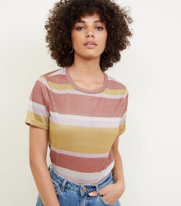 Rust Glitter Stripe T-Shirt