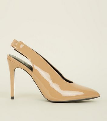 Camel Patent Pointed Stiletto Slingbacks