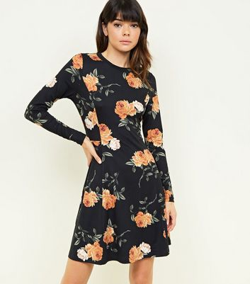 Black Floral Long Sleeve Soft Touch Skater Dress