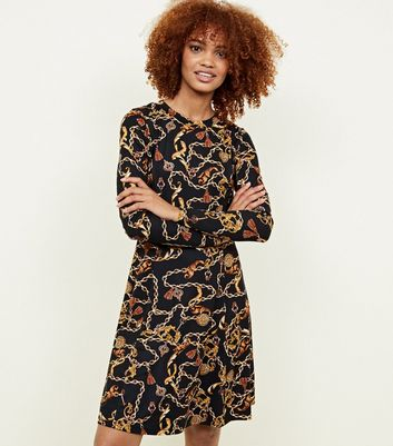 Black Chain Print Soft Touch Skater Dress