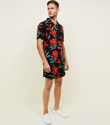 Black and Red Tropical Floral Shorts