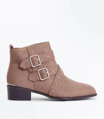 Wide Fit Light Brown Suedette Studded Strap Buckle Boots