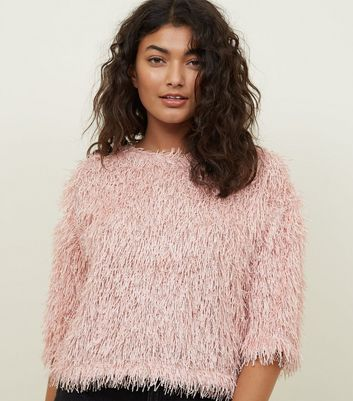 Pale Pink Eyelash Knit Slouchy Top