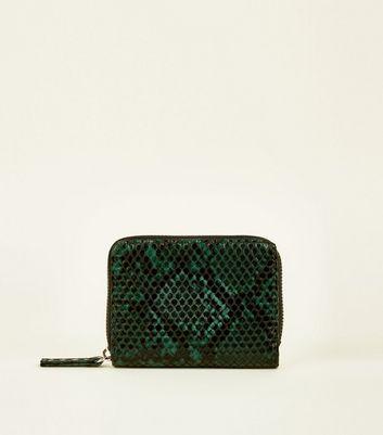 Dark Green Faux Snakeskin Zip Around Card Holder by New Look