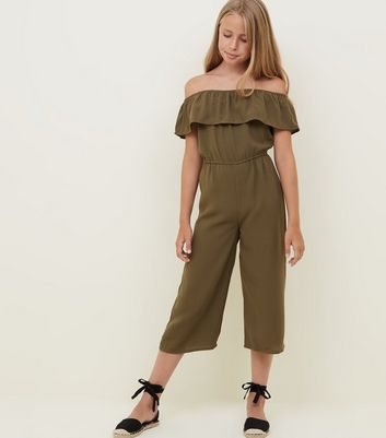 Girls Khaki Frill Bardot Jumpsuit
