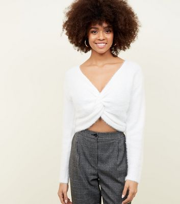 White Fluffy Twist Front Jumper