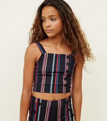 Girls Black Rainbow Stripe Button Front Cami