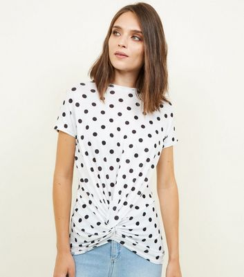 White Polka Dot Twist Front Top