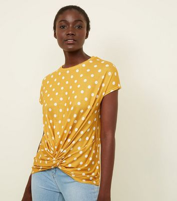 Yellow Polka Dot Twist Front Top
