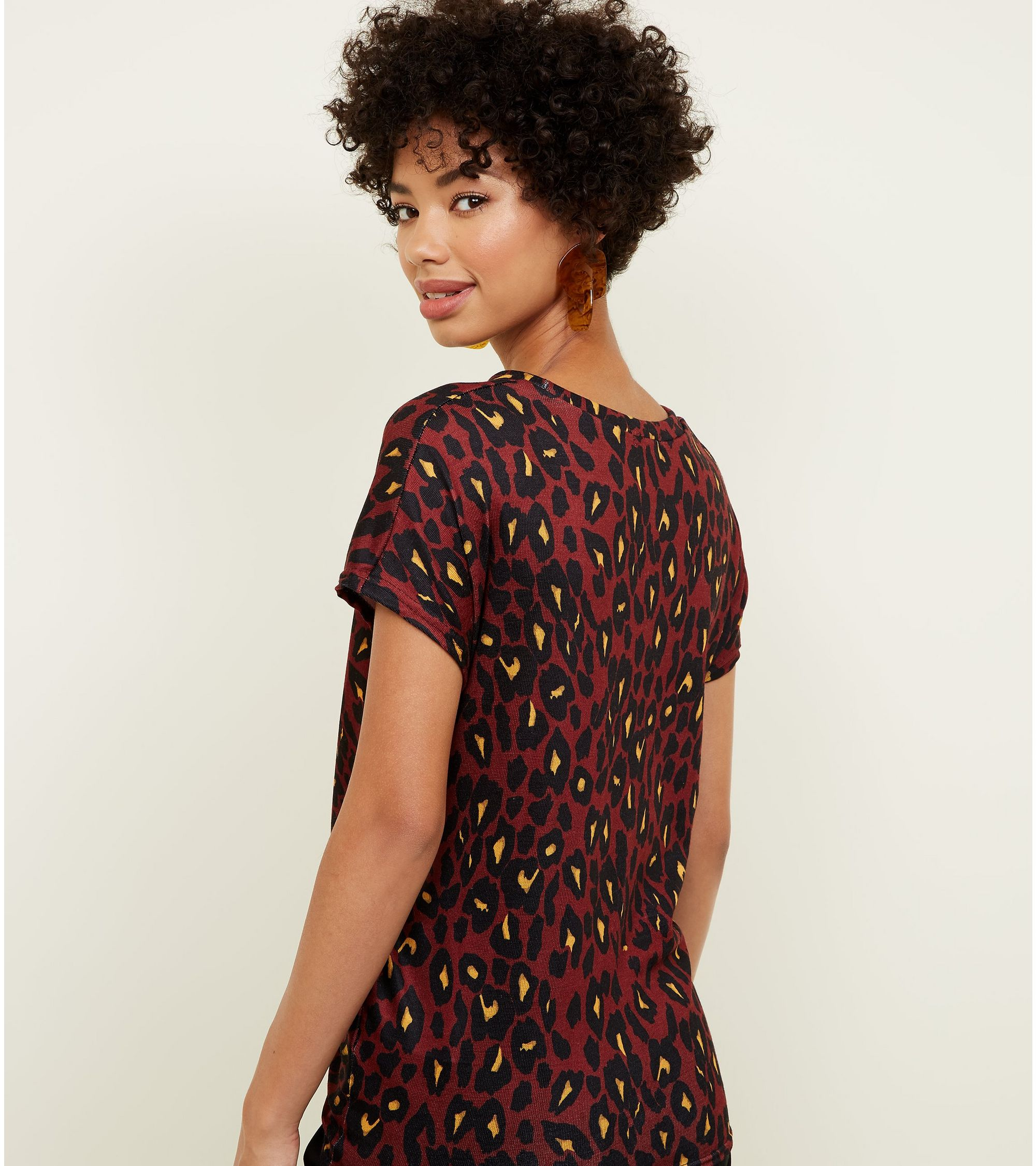 89f0203d96c5 New Look Burgundy Leopard Print Twist Front Top at £6 | love the brands