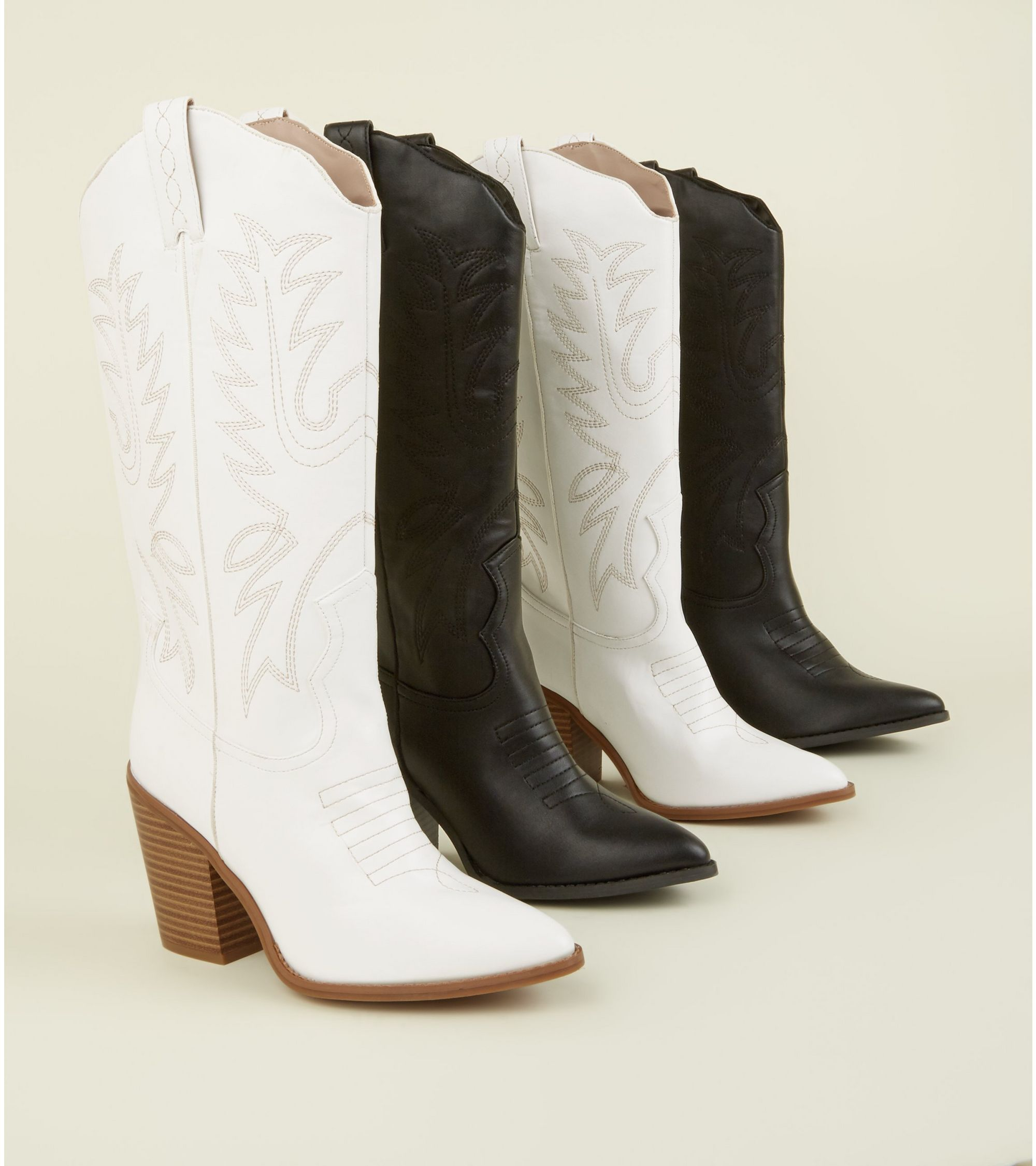74c7485b678 White Limited Edition Knee High Western Boots