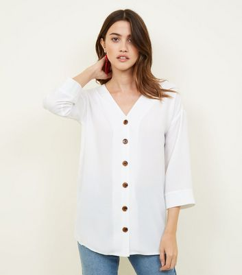 Cameo Rose Cream Button Front Oversized Blouse