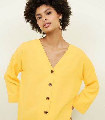 Cameo Rose Mustard Button Front Oversized Blouse