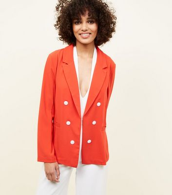 Cameo Rose Red Double Breasted Blazer