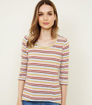 Cream Multi Stripe Fine Knit 3/4 Sleeve Top