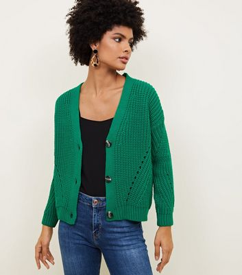 Green Chunky Ribbed Pointelle Cardigan