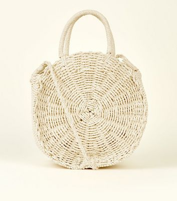 Cream Circle Woven Tote Bag