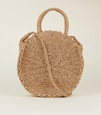 Tan Circle Woven Tote Bag