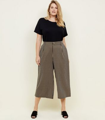 Curves Black Stripe Twill Belted Culottes