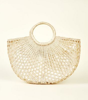 Stone Woven Circle Handle Tote