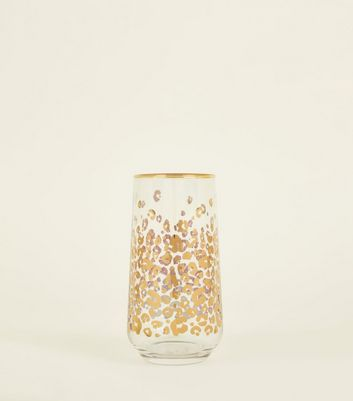 Rose Gold Leopard Print Tumbler Glass