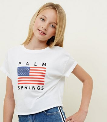 Girls White Palm Springs Slogan T-Shirt