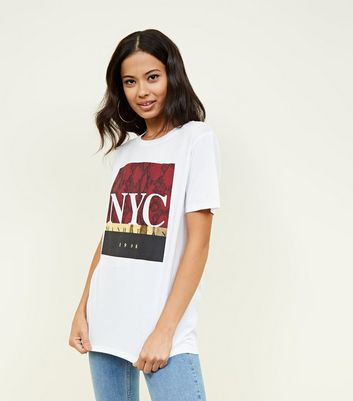 White Metallic and Snakeskin NYC Print T-shirt