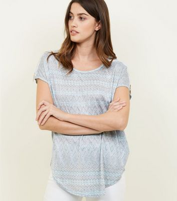 Apricot Blue Aztec Print Side Zip Top