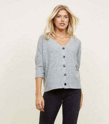 Pale Grey Fine Knit Rib Cardigan