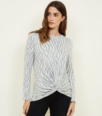 Light Grey Zebra Fine Knit Twist Front Top