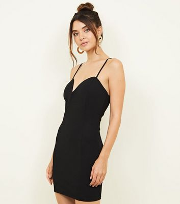 Black Notch Neck Bodycon Party Dress