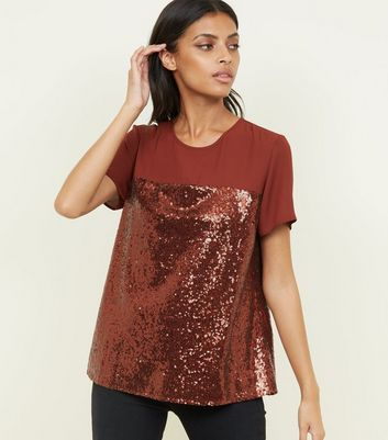 Rust Chiffon Yoke Sequin T-Shirt