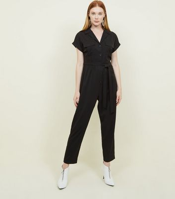Black Twill Button Front Utility Jumpsuit by New Look