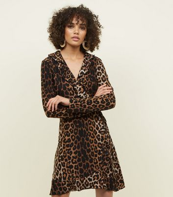Mela Brown Leopard Print Wrap Dress