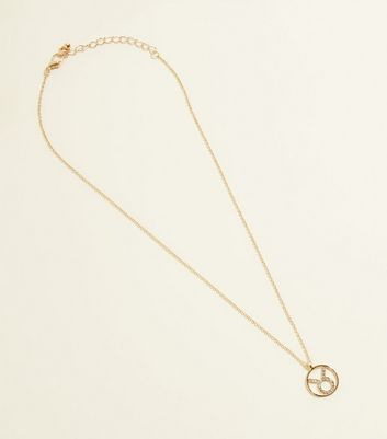 Gold Diamanté Taurus Star Sign Pendant Necklace by New Look