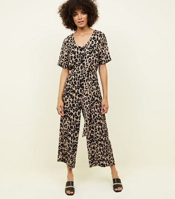 Tan Leopard Print Button Through Jumpsuit