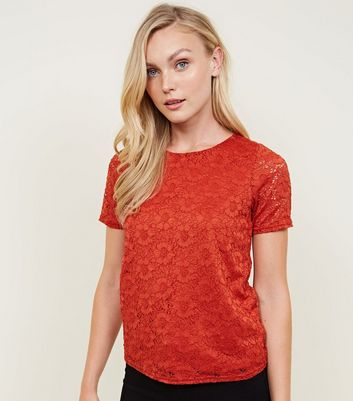 Rust Floral Lace Box T-Shirt