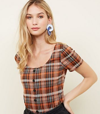 Orange Check Button Front T-Shirt