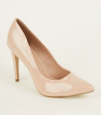 Cream Patent Stiletto Heel Pointed Courts