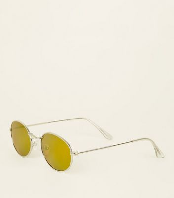 Green Tinted Oval Sunglasses by New Look