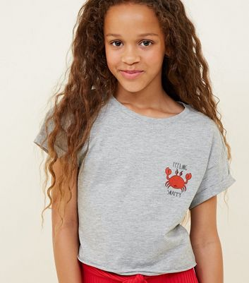 Girls Pale Grey Crab Slogan T-Shirt