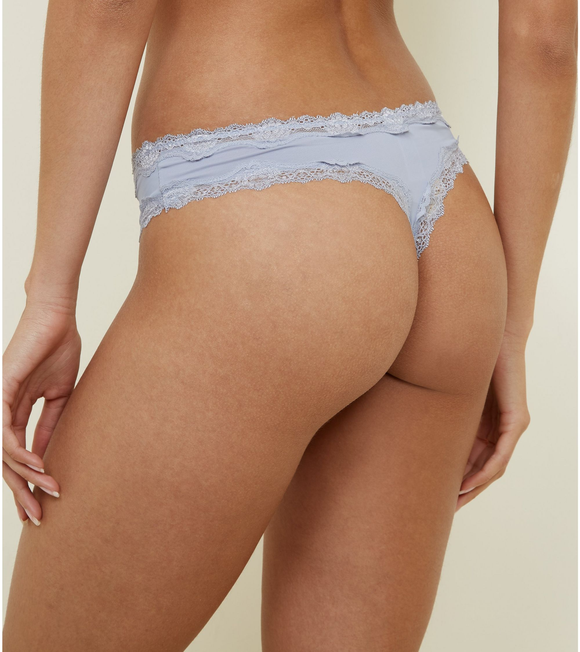 2cb8ef36ff365 New Look Pale Blue Lace Trim Thong at £3
