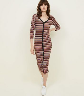 Brown Stripe Button Through 3/4 Sleeve Midi Dress